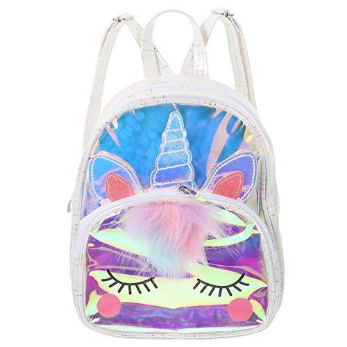 SOIMISS Mochila Unicornio para Niñas Holográfica Hermosa Mochila Transparente Mochila Escolar Regalo Blanco
