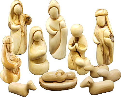 Holy Land Olive Wood Faceless Nativity Set from Israel, 12 Piece Unique Indoor Wooden Nativity Scene, Jesus Mary & Joseph Holy Family in the Manger...