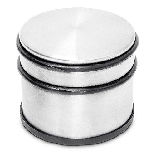 Relaxdays Dörrstopp hög, rostfritt stål, för fönster och dörrar, stor, gummiskydd, för tunga dörrar, HBT: ca 7,5 x 9,5 x 9,5 cm, silver