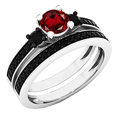 Dazzlingrock Collection 5 mm Round Garnet & Black Diamond Ladies 3 Stone Engagement Ring Set, Sterling Silver, Size 4.5