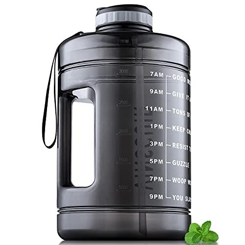 Vinsguir 1 Gallon Water Bottle, BPA Free Large 128 oz Leak Proof Fitness Sports Gallon Jug with Motivational Time Marker & Straw (Black)