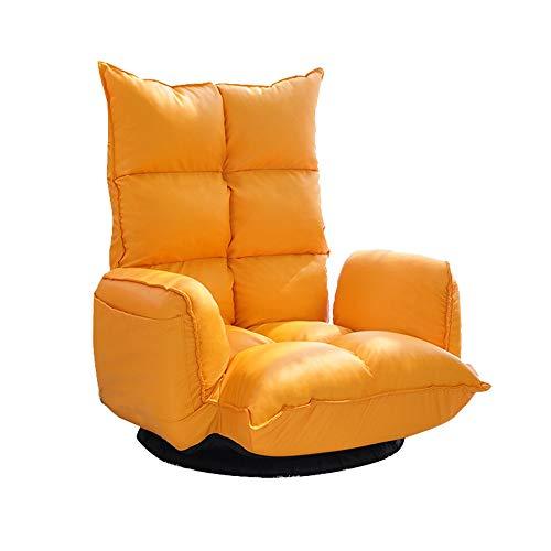 ZHEYANG Gaming Bodenstuhl Lazy Sofa Einzel Rotating Chair   Boden Sofa Haushaltserkerfenster Stuhl   Rückenlehne Stuhl Faltbare Sessel (Farbe : Orange Yellow)