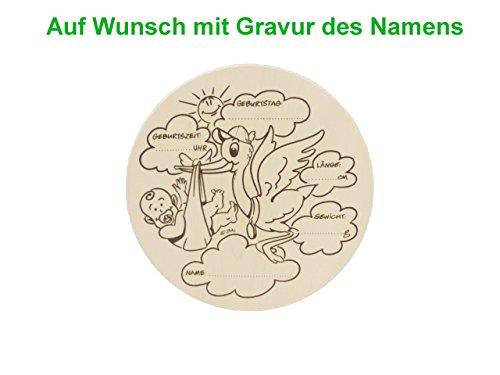 Geburtsteller Ø 22cm Geschenk zur Geburt Baby Junge Mädchen Deko Holz Ahorn