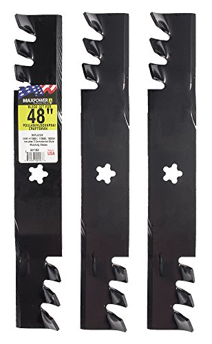 """Maxpower 561735XB Commercial Mulching Blade Set for 48"""" Cut Craftsman, Husqvarna, Poulan Replaces OEM 173921 and 532173921, Black"""