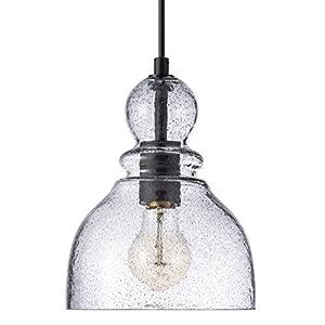 LANROS Farmhouse Mini Pendant Lighting with Handblown Black Sand Powder Glass Shade, Adjustable Cord Ceiling Light Fixture for Kitchen Island Hallway Kitchen Sink, Matte Black, 7inch
