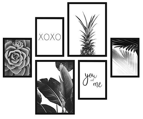 POSTORO Stilvolles Wohnzimmer Poster Set, 6 harmonisch aufeinander abgestimmte Bilder ohne Rahmen, 2 x DIN A3 + 4 x DIN A4 (Pineapple)