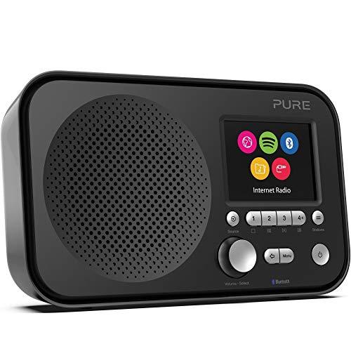 Pure Elan IR5 Internetradio mit Bluetooth (mit Spotify Connect, über 25.000 Radiosender, Weckfunktionen, Küchen- und Sleep-Timer, 2,8-Zoll-TFT-Farbdisplay, 12 Senderspeicherplätze), Schwarz