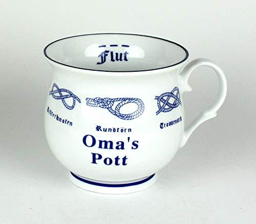 Oma's Pott mit Seemannsknoten bauchig Kaffeebecher Kaffeetasse Kaffee