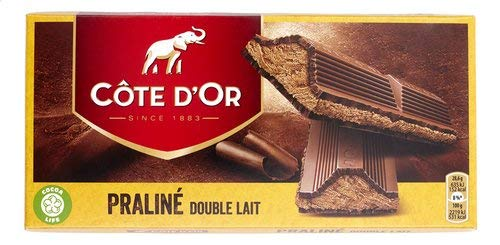 Cote d'Or - Tableta doble de leche y praliné - Leche doble - 200 g - Chocolate negro belga - Barrita de trufa - Barritas de chocolate - snack perfecto - Chocolate europeo - Importado de Bélgica