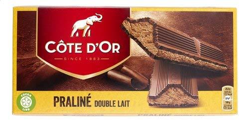 Cote d'Or - Doppelmilch- und Pralinen-Tablette - Double Lait - 200 g - Belgische dunkle Schokolade - Trüffelriegel - Schokoriegel - perfekter Snack - Europäische Schokolade - Importiert aus Belgien