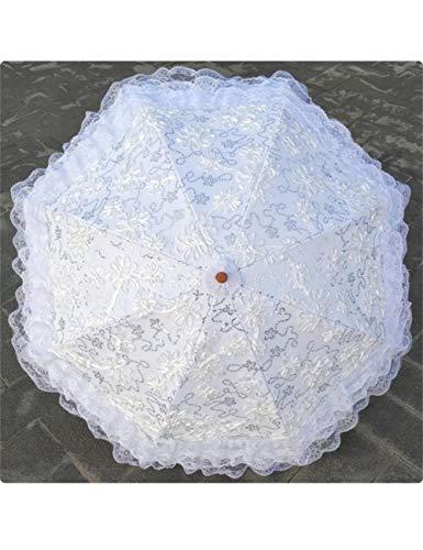 KDLVJ Ombrello Ombrello Ricamato In Pizzo Pioggia Sole Donna Protezione Moda Ombrelli A Due Pieghe Per Donna Ragazza Donna, Bianco