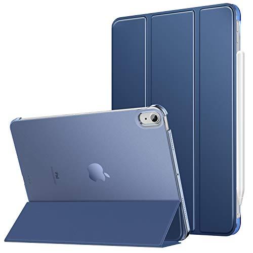MoKo Cover per iPad Air 4a Generazione 2020 iPad 10.9 2020, [Supporta Ricarica di iPencil 2] Retro Trasparente Rigido Ultra Sottile Leggero Custodia in Tri-Fold Auto Sveglia Sonno, Blu Marino