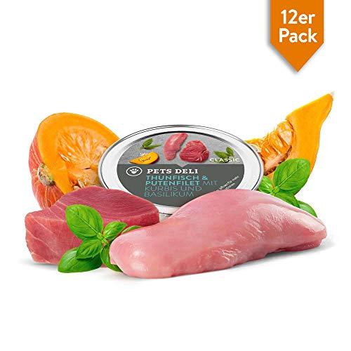 Premium Nassfutter Katze 12 x 85 g Thunfisch & Putenfilet | 100% Lebensmittelqualität, ohne unnötige Zusatzstoffe | getreidefreies Katzenfutter nass mit hohem Fleisch- und Fischanteil, Vorteilspackung