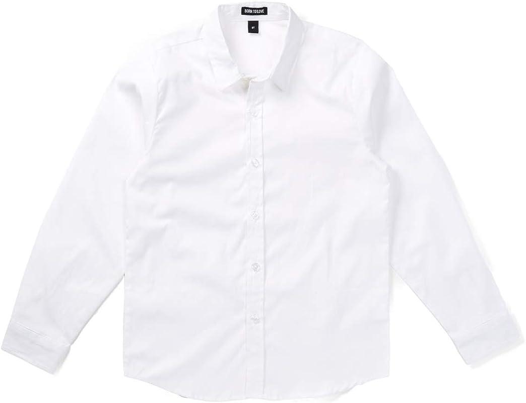 Born to Love Wedding Baptism Birthday Boys White Button Up Shirt