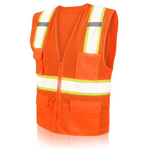 SHORFUNE High Visibility Safety Vest with Pockets, Mic Tabs, Zipper and Reflective Strips, Meets ANSI/ISEA Standards, Orange, L