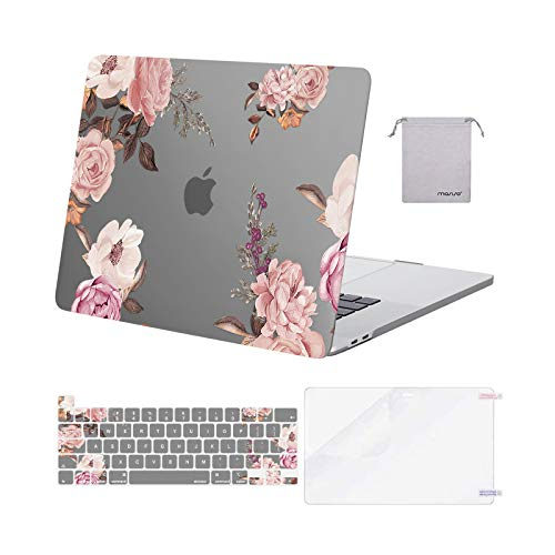 MOSISO MacBook Pro 16 inch Case 2020 2019 Release A2141, Plastic Peony Hard Shell Case & Keyboard Cover Skin & Screen Protector & Storage Bag Compatible with MacBook Pro 16 with Touch Bar, Grey
