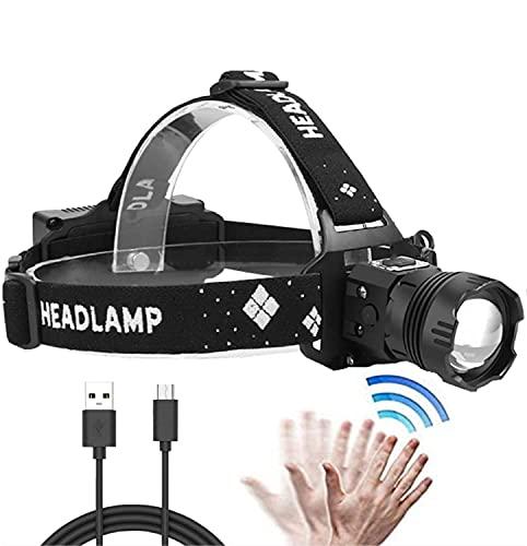 XLENTGEN Linterna Frontal LED XHP90 USB Recargable Linterna Cabeza Alta Potencia 10000 Lúmenes Impermeable con Zoom Sensorcon 5 Modos para Camping Excursión Pesca Caza Ciclismo Acampar Cenderismo