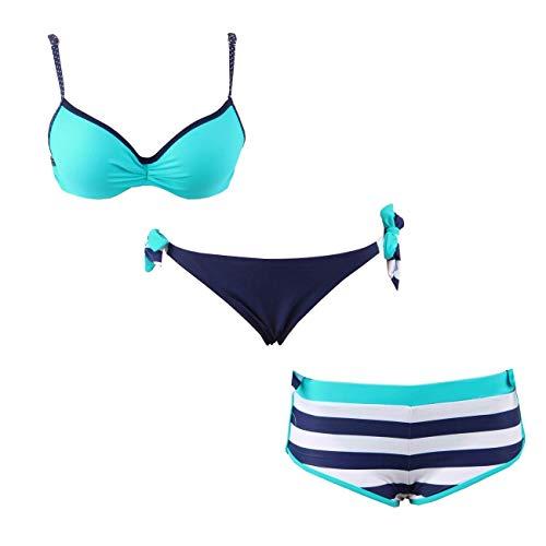 3er Damen Bikini Set Surfer Style Push Up Badeanzug Panty Strandkleidung S/XL Größe S/M