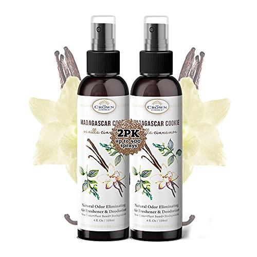 Natural Vanilla Air Freshener & Room Spray – 2PK of 4oz Vanilla Cinnamon Essential Oil Blend – Freshen Rooms & Bathroom Deodorizer & Odor Eliminator Spray – Bedrooms, Bathrooms, Toilets – USA Made