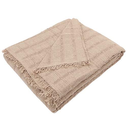 MERCURY TEXTIL- Colcha Multiusos Sofa,Manta Foulard,Plaid para Cama,Cubresofa Cubrecama,jarapas,Comoda Practica y Suave. Poliester Algodón (180 x 260cm, Liso Camel)