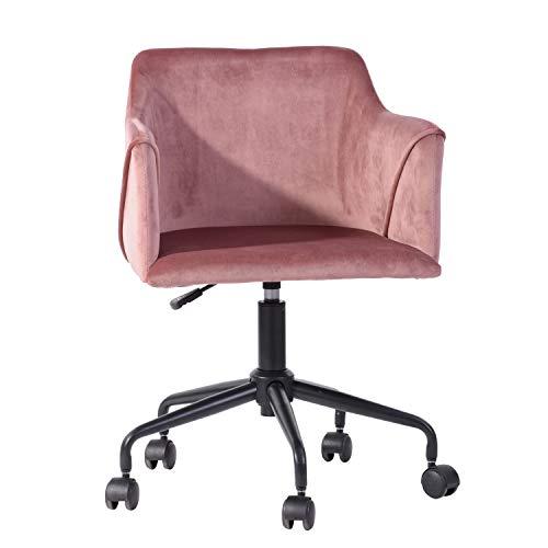 FurnitureR Silla de oficina para el hogar con asiento tapizado de terciopelo, silla de acento de escritorio ajustable en altura con reposabrazos, con recubrimiento de polvo Base de...