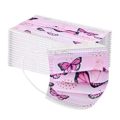 Mundschutz 50 Stück kinder Unisex Kindergesichts cover importieren stoff A Variety of Fashion Printing Einheitsgröße für Jungs Mädchen - 3-12 Jahre (Rosa Schmetterling)