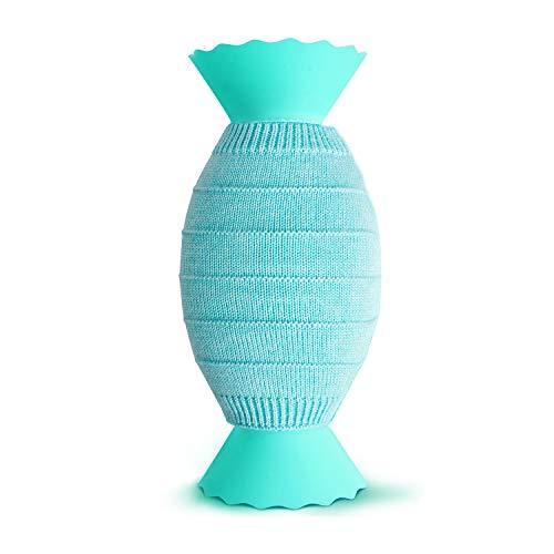 Karvipark Wärmflasche Kinder, Silikon Wärmebeutel mit Strickbezug BPA-frei Klein Waschbare tragbar Mikrowelle Heizung Wärmflaschen für Schmerzlinderung Heiß- und Kältetherapie(Grün)
