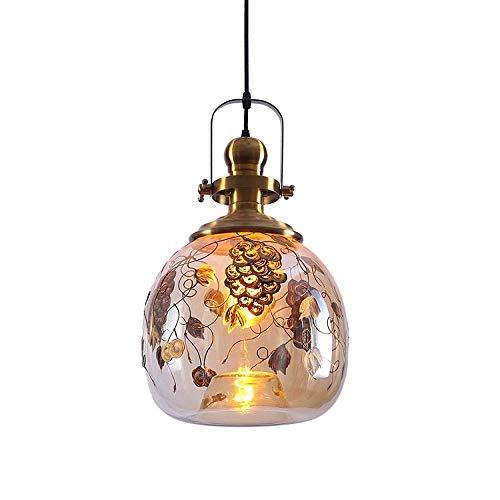 HJ-DENG Lampadario Illuminazione a filo unico europeo testa di vetro lampadario dispositivo del soffitto lampada a sospensione luce for Sala da pranzo Bagno Camera da letto Soggiorno altezza regolabil