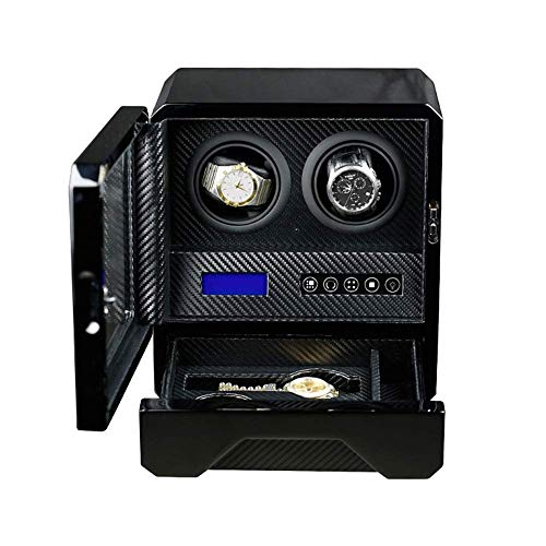 CCAN Enrollador automático de Relojes, Caja de Almacenamiento de Relojes de Cuero 2 + 2 con Pantalla Digital LCD táctil y Motor silencioso con iluminación LED Happy Life