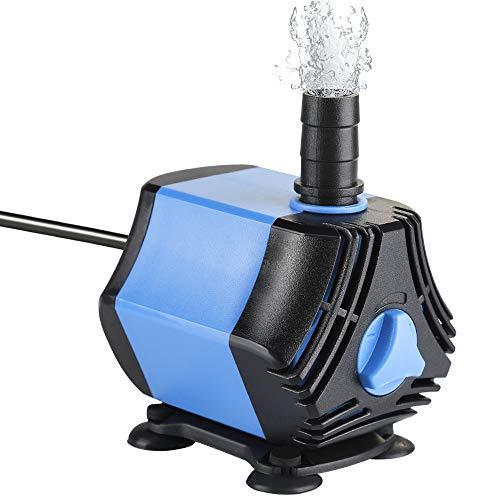 Zacro Bomba Sumergible Bomba de Agua 650L / H, Bomba de Agua Ultra Silencioso de 10W con 4 Ventosas y 2 Boquillas (13/8 mm) para Acuario, Pecera, Jardín, Estanque