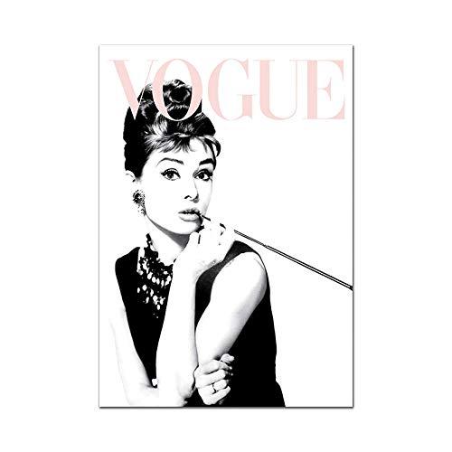 WJWGP Audrey Hepburn Moda Poster Vogue De La Lona Pintura Escandinavo Estilo Pared Arte Cuadros Moderno Pared Salon Inicio Decoracion 40x60cm No Marco