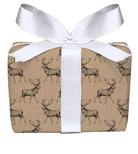 5er Set Weihnachts Geschenkpapier Bögen Hirsch Retro Kraftpapier Look natur Weihnachten, Adventszeit, Weihnachtspapier für Weihnachtsgeschenke, Adventskalender, Format 50 x 70 cm