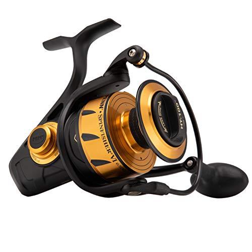 PENN Fishing Spinfisher VI Saltwater Spinning Reel, 8500, 4.7:1 Gear Ratio, 42' Retrieve Rate, 6 Bearings, Ambidextrous, Black Gold, 8500