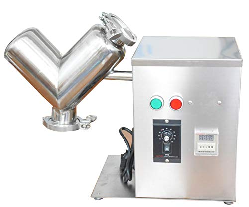 CGOLDENWALL V Type Powder Mixer Machine 2L Stainless Steel Dry Powder Mixer Mixing Machine Blender for Tea Pharmaceutical Powder CE Certification 110V US Plug