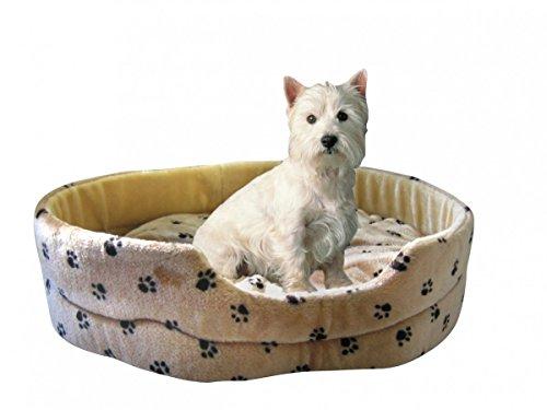 Silvio Design Hundeliege, Hunde-Schlafkissen, Hundekorb, Hundebett Silvio, Motiv: Pfotendessin Größe: M, Maße: ca. 48 x 55 x 18 cm