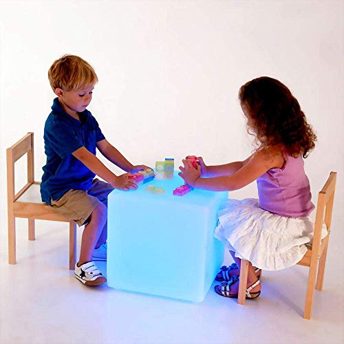 LOFTEK LED Light Cube: 16-inch Light Cube Seats, Color Changing Kid's Stool with Remote Control, 4400mAh Rechargeable Bar Stools, UL Listed Adapter, Perfect for Sensory Education, Party Decoration