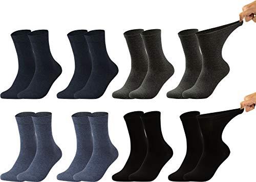 Vitasox 1112025 Damen Gesundheitssocken extra weiter Bund ohne Gummi, Venenfreundliche Socken mit breitem Schaft verhindern Einschneiden & Drücken, 8 Paar Schwarz Anthrazit Jeans-Töne 39/42