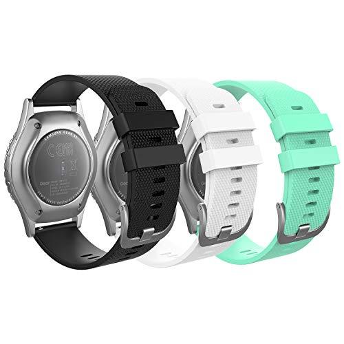 MoKo Correa Compatible con Garmin Vivoactive 3/Galaxy Watch 42mm/Galaxy Watch 3 41mm/Galaxy Watch Active/Active 2/Gear S2 Classic/Huawei Watch GT/GT 2 42mm, 20mm Pulsera - Blanco y Negro y Verde Gema
