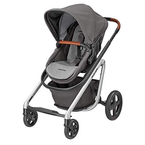 Maxi-Cosi Lila Kinderwagen, hochwertiger, zusammenklappbarer Sportwagen mit Liegeposition und ergononomischem Sitzverkleinerer, nutzbar ab der Geburt bis ca. 3,5 Jahre, nomad grey