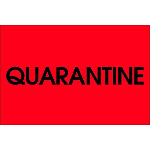 Tape Logic TLDL1138 Labels'Quarantine', 2' x 3', Fluorescent Red, 1 Roll of 500 Labels