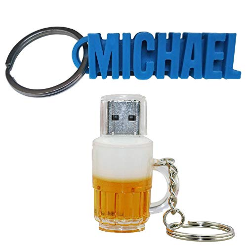 Chiavetta USB originale Boccale di birra + 1 portachiavi personalizzabile con il vostro nome, chiavetta USB da 32 GB, chiavetta USB Fantasia, chiavetta USB, chiavetta USB Insolita, chiavetta USB