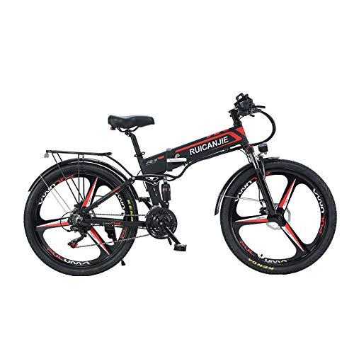 SONGZO Bicicleta de Montaña 350W 21 Velocidades Bicicleta Eléctrica Plegable de 26 Pulgadas con Doble Suspensión y Freno de Disco (R3)