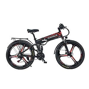 4162kyjIuuL. SS300 SONGZO Bicicletta Pieghevole Elettrica da 26 Pollici a 21 velocità per Mountain Bike da 350 W con Doppia Sospensione e Freno a Disco