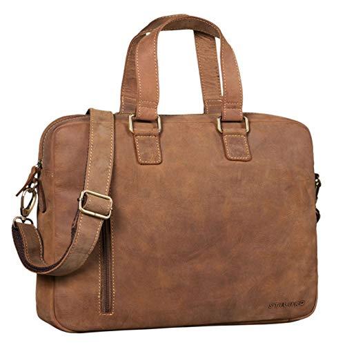 STILORD 'Jonte' Vintage Ledertasche Businesstasche Herren Damen Große Umhängetasche mit 13,3 Zoll Laptop-Fach Echtes Leder, Farbe:Used Look - braun