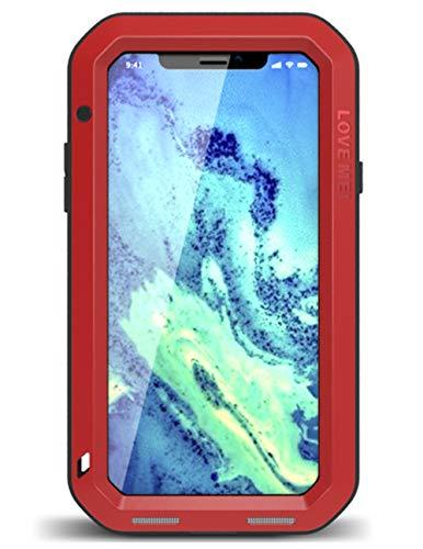 UFinetech obudowa na cały korpus do iPhonea X, TPU Ultra Bumper Best Outdoor Elastyczna osłona ochronna 5s do Apple iPhone X Xs twardy żel silikonowy odporny na zarysowania wbudowany szkło hartowane (czerwony)