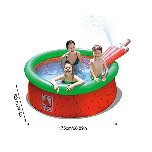 bouncevi Inflatable Play Center Wading Pool Thickened Multi-use Water Fun Ladder Pool with Special Patterns Dinosaur Watermelon with Slide for Kids Children Garden Backyard