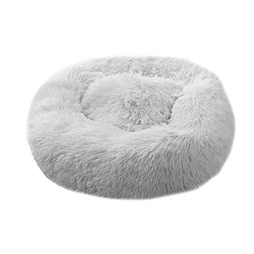 HahaGo Mascota Cama Felpa Suave Redondo Gato Dormido Saco de Dormir Profundo Almohada de Felpa Cojín Suave Fossa para Gatos Perros(Gris)(60cm/23,62 Pulgadas)