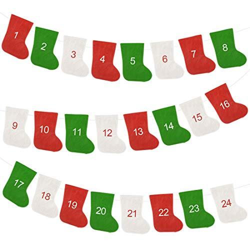 lunaoo Christmas Advent Calendar for Kids, 24 Days Countdown to Xmas Advent Calendar Empty Gift Bags Socks for Christmas Holiday Decoration