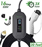 PRIMECOM Level 2 EV Charger 220/240V, 16A, 30ft & 50ft, Portable EVSE Electric Vehicle Charging Cable Compatible with Bolt Volt Leaf BMW i3 Fiat 500e Clarity NIRO Prius (30 Feet, 6-20P)