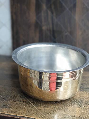 Josanz Indian Traditional Kitchen Utensil Brass Patila Tope Cooking Topia Bhaguna Pots & Pan Capacity 3 Litre 100% Pure Brass for Ayurvedic Health Benefits (3.0 Lt - Brass Patila)